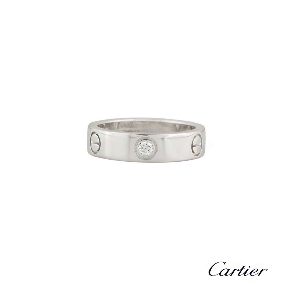 CartierWhite Gold Half Diamond Love Ring Size 55 B4032555